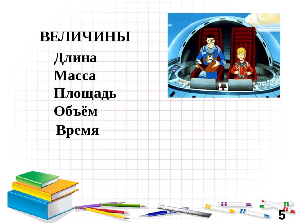 Длина Масса Площадь Объём Время ВЕЛИЧИНЫ 5