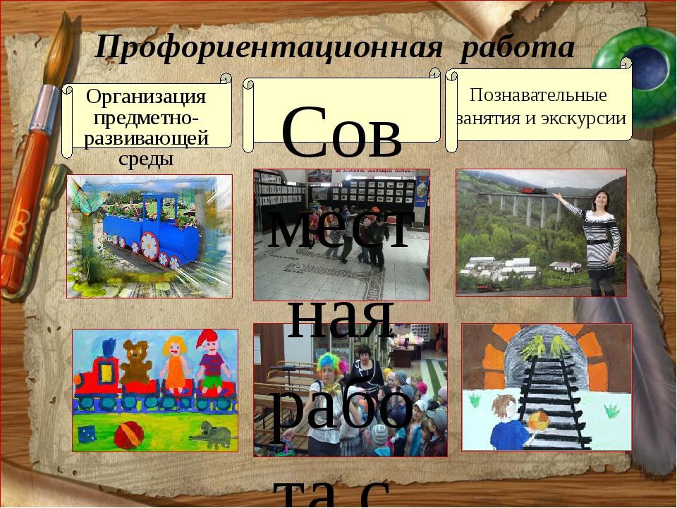 Профориентационная работа Организация предметно-развивающей среды Совместная...