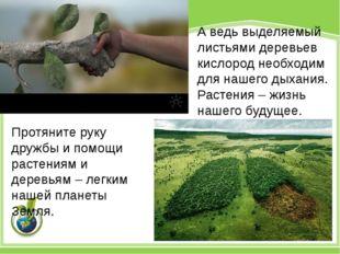 Протяните руку дружбы и помощи растениям и деревьям – легким нашей планеты Зе