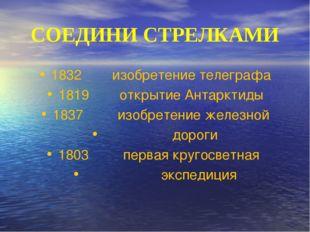 СОЕДИНИ СТРЕЛКАМИ 1832 изобретение телеграфа 1819 открытие Антарктиды 1837 из