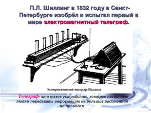 П.Л. Шиллинг в 1832году в Санкт-Петербурге изобрёл и испытал первый в мире