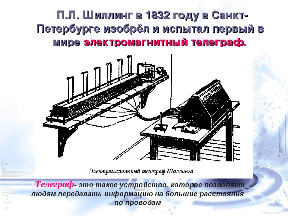 П.Л. Шиллинг в 1832году в Санкт-Петербурге изобрёл и испытал первый в мире...