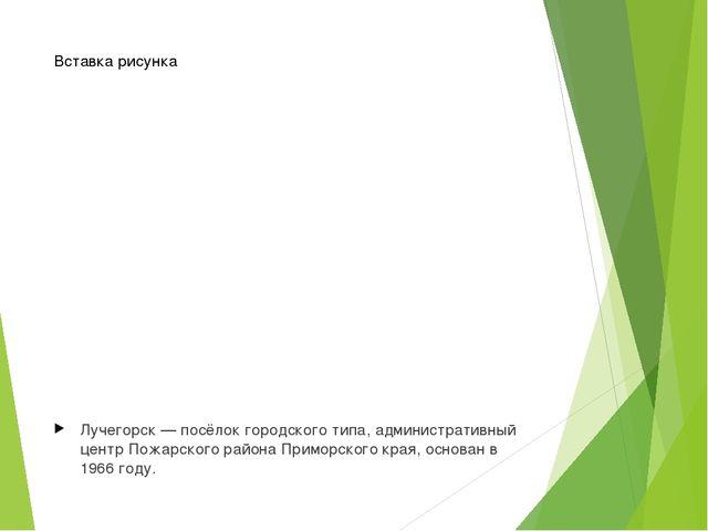 Лучегорск—посёлок городского типа, административный центрПожарского района...