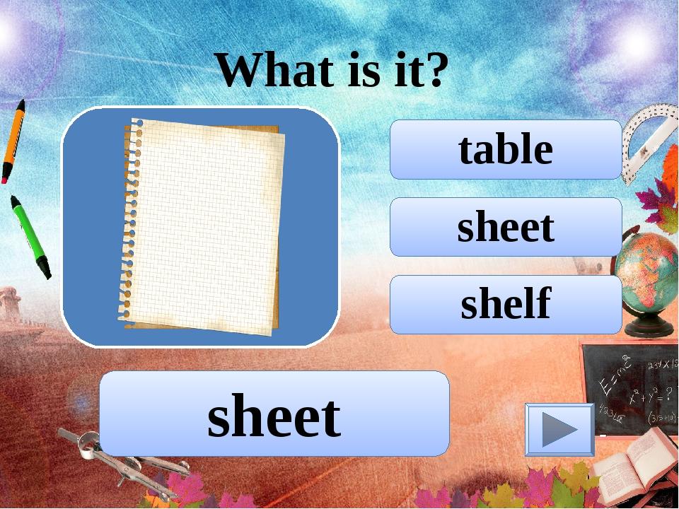sheet table shelf What is it? sheet
