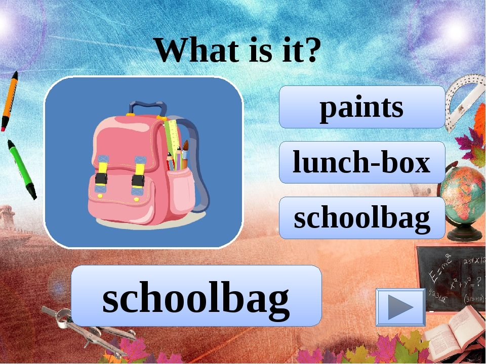 lunch-box paints schoolbag What is it? schoolbag