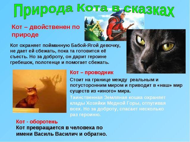 Кот – двойственен по природе Кот охраняет пойманную Бабой-Ягой девочку, не да...
