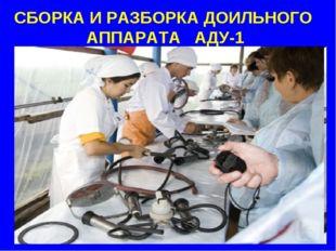СБОРКА И РАЗБОРКА ДОИЛЬНОГО АППАРАТА АДУ-1