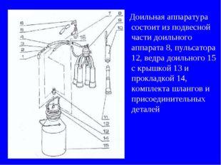 Доильная аппаратура состоит из подвесной части доильного аппарата 8, пульсат