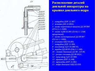 Расположение деталей доильной аппаратуры на крышке доильного ведра 1 - патруб