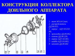 КОНСТРУКЦИЯ КОЛЛЕКТОРА ДОИЛЬНОГО АППАРАТА 1 - винт M5х14 2шт; 2 - распределит