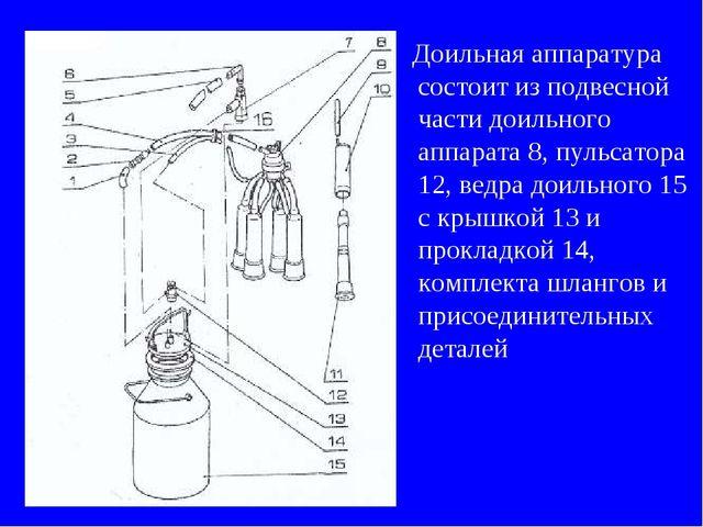 Доильная аппаратура состоит из подвесной части доильного аппарата 8, пульсат...