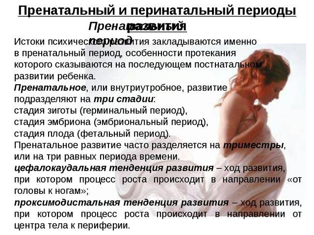 Пренатальный и перинатальный периоды развития Пренатальный период Истоки псих...