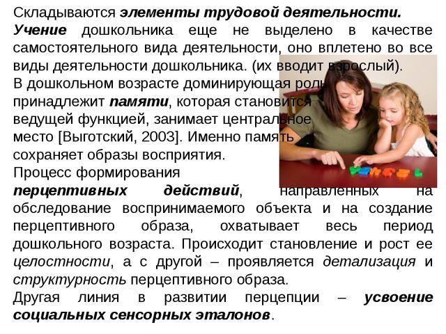 Складываются элементы трудовой деятельности. Учение дошкольника еще не выдел...