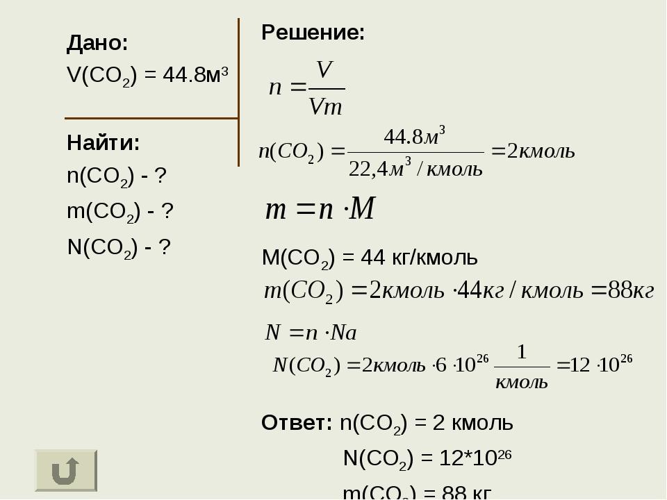 Дано: V(CO2) = 44.8м3 Найти: n(CO2) - ? m(CO2) - ? N(CO2) - ? Решение: M(CO2)...