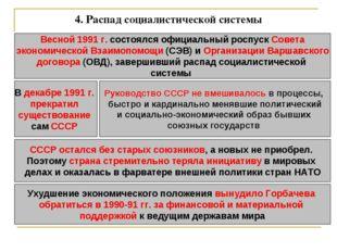 4. Распад социалистической системы Весной 1991 г. состоялся официальный роспу
