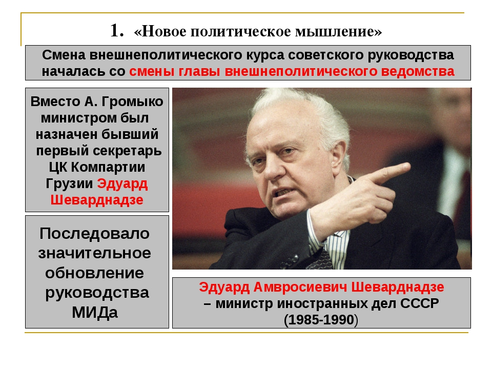 1. «Новое политическое мышление» Смена внешнеполитического курса советского...