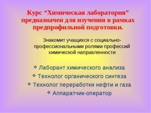 """Курс """"Химическая лаборатория"""" предназначен для изучения в рамках предпрофильн"""