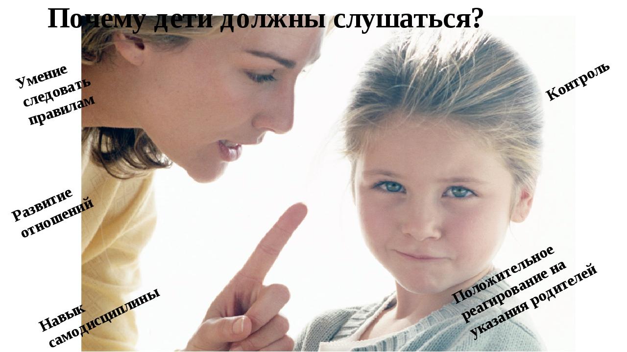 Почему дети должны слушаться? Умение следовать правилам Навык самодисциплины...