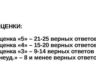 ОЦЕНКИ: оценка «5» – 21-25 верных ответов оценка «4» – 15-20 верных ответов;