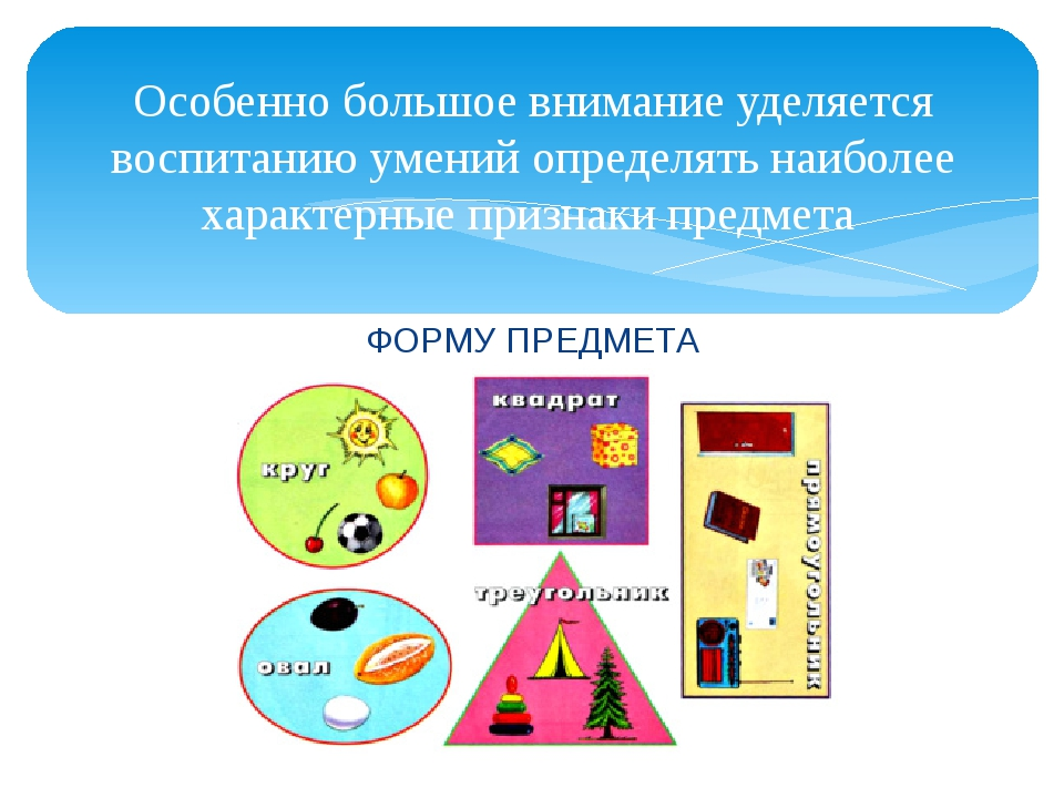 ФОРМУ ПРЕДМЕТА Особенно большое внимание уделяется воспитанию умений определя...