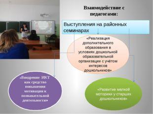 Взаимодействие с педагогами: Выступления на районных семинарах «Реализация до