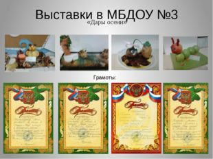 Выставки в МБДОУ №3 «Дары осени» Грамоты: