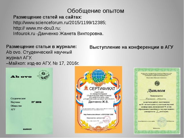 Обобщение опытом Размещение статей на сайтах: http://www.scienceforum.ru/2015...