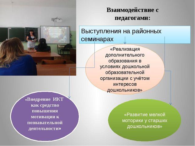 Взаимодействие с педагогами: Выступления на районных семинарах «Реализация до...