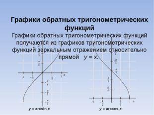 Графики обратных тригонометрических функций Графики обратных тригонометрическ