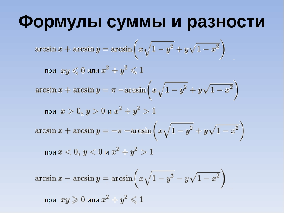 Формулы суммы и разности