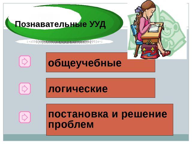 Познавательные УУД общеучебные логические постановка и решение проблем Познав...
