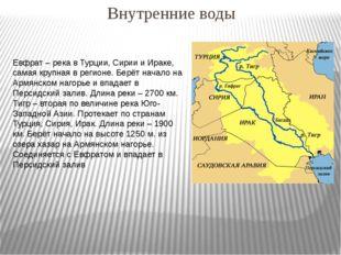 Внутренние воды Евфрат – река в Турции, Сирии и Ираке, самая крупная в регион