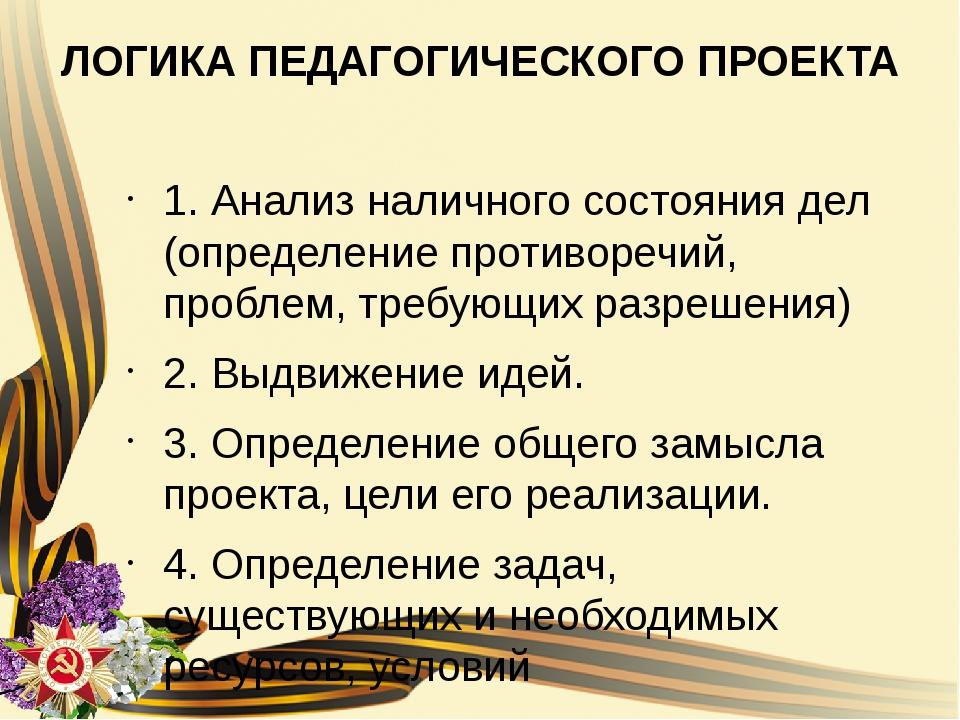 ЛОГИКА ПЕДАГОГИЧЕСКОГО ПРОЕКТА 1. Анализ наличного состояния дел (определение...