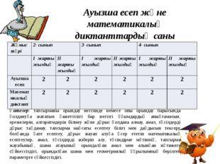 Ауызша есеп және математикалық диктанттардың саны Қателер: тапсырманы орындау