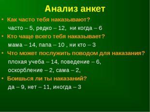 Анализ анкет Как часто тебя наказывают? часто – 5, редко – 12, ни когда – 6 К