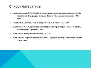 Список литературы Архангельский В.Н. Семейная политика и социальная поддержка