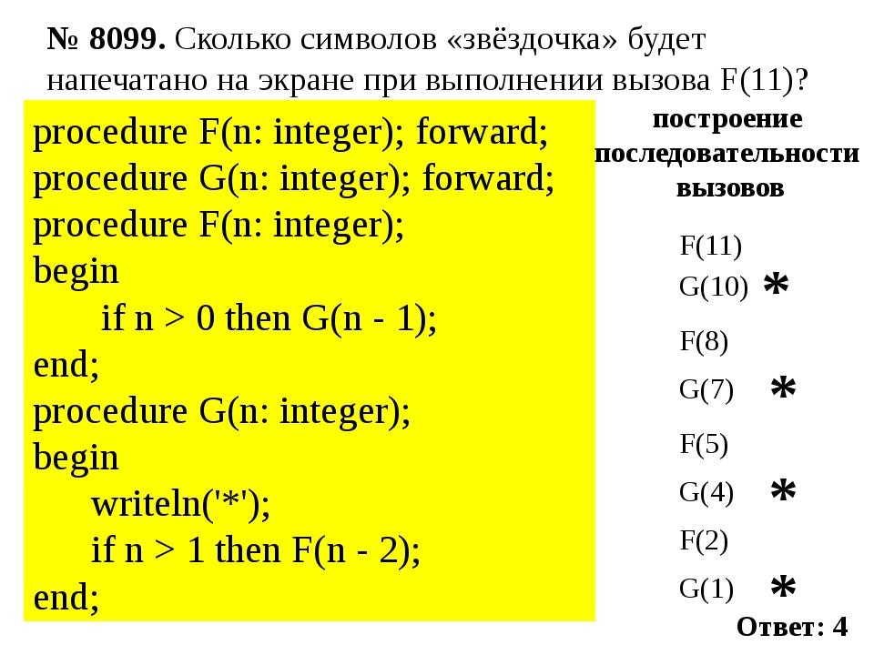 procedure F(n: integer); forward; procedure G(n: integer); forward;  procedu...