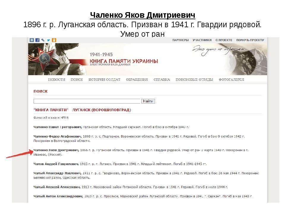 Чаленко Яков Дмитриевич 1896 г. р. Луганская область. Призван в 1941 г. Гвард...