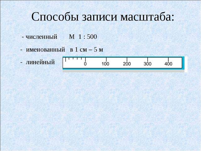 Способы записи масштаба: - численный М 1 : 500 - именованный в 1 см – 5 м -...