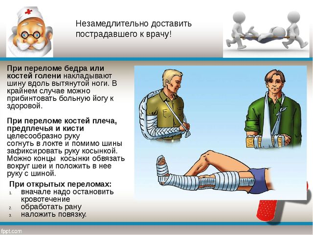 При переломе бедра или костей голени накладывают шину вдоль вытянутой ноги. В...