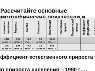 5. Рассчитайте основные демографические показатели и заполните таблицу: коэфф