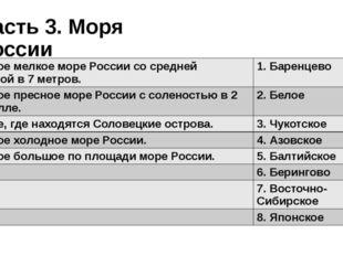 Часть 3. Моря России 1. Самое мелкое море России со средней глубиной в 7 метр