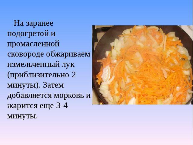 На заранее подогретой и промасленной сковороде обжариваем измельченный лук (...