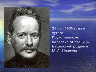 24 мая 1905 года в хуторе Кружилинском, недалеко от станицы Вешенской, родилс