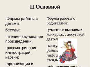 II.Основной -Формы работы с детьми: беседы; -чтение, заучивание произведений;