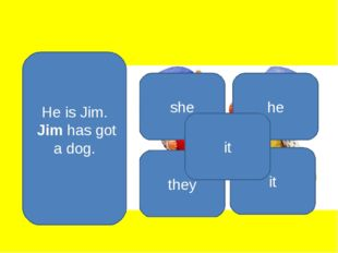 He is Jim. Jim has got a dog. he she they it it