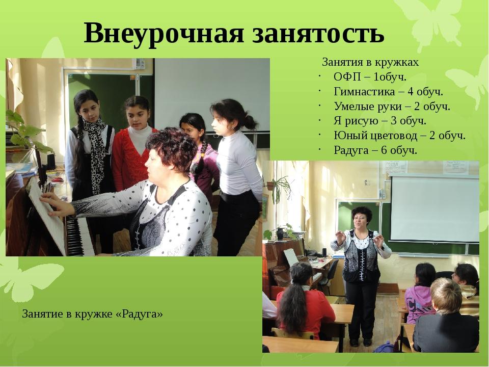 Внеурочная занятость Занятие в кружке «Радуга» Занятия в кружках ОФП – 1обуч....