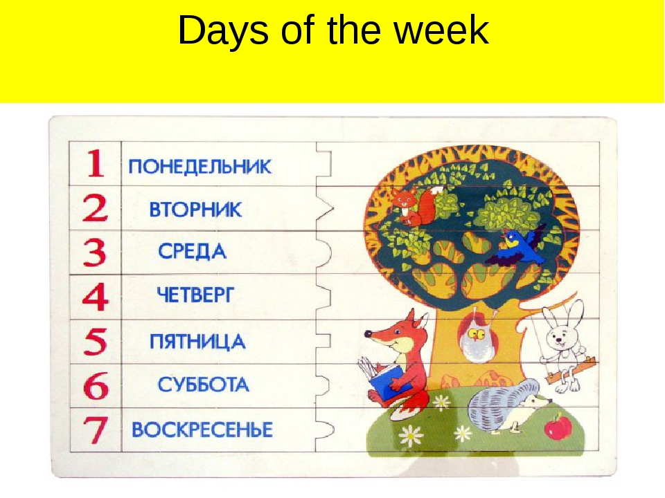 Дни недели картинка для детского сада