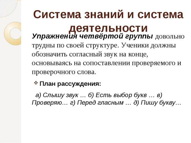 Система знаний и система деятельности Упражнения четвёртой группы довольно т...