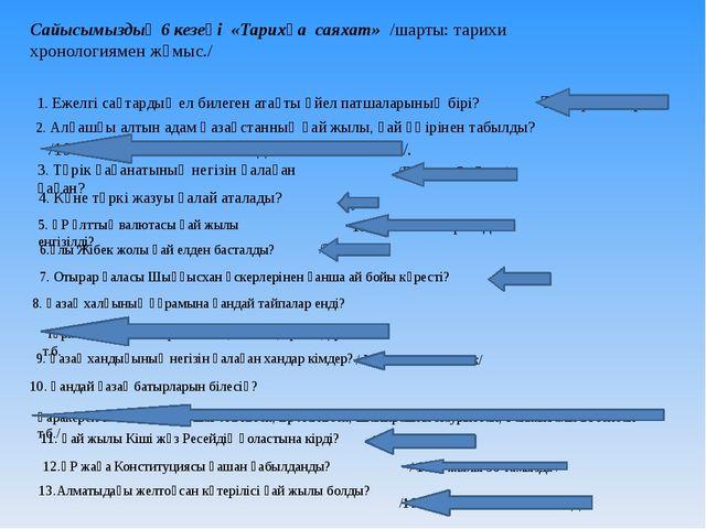 Сайысымыздың 6 кезеңі «Тарихқа саяхат» /шарты: тарихи хронологиямен жұмыс./ 1...